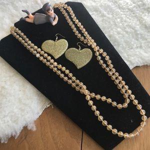 💎 Lot VTG Glitter Long Beaded Necklace & Earrings